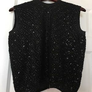 Sweaters - Black Sequin sleeveless Mod sweater - Small